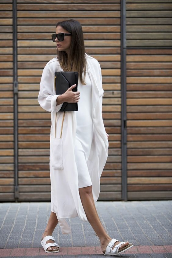 minimal white look with white birkenstocks #style #fashion
