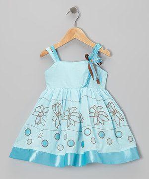 the Silly Sissy Aqua Flower Satin-Trim Dress - Toddler & Girls by the Silly Sissy #zulily #zulilyfinds