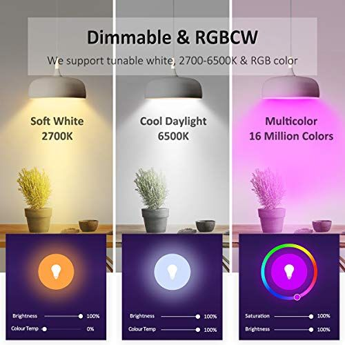 Novostella Led Lights Bulbs Rgb Color Changing Tunable White 2700 6500k Dimmable For Smart Lamps Work With Alexa Google Ho Led Light Bulb Works With Alexa Bulb