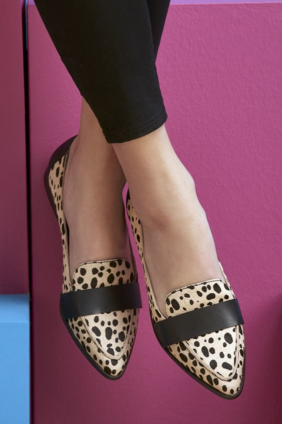 Sleek pointed loafers in cheetah print | Sole Society Edie