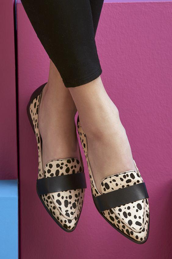 Sleek pointed loafers in cheetah print | Sole Society Edie