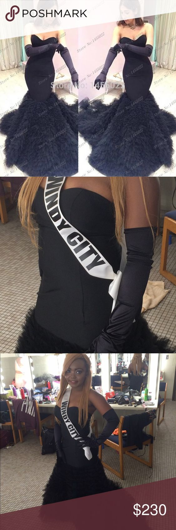 Black gloves for gown - Pageant Gown Black Mermaid Style Ruffled Tulle Pageant Gown Petfect For An Elegant Formal Occasion Evening Wear I Ll Even Throw In The Pair Of Black