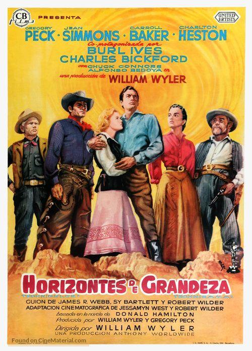 The Big Country Horizontes De Grandeza 1958 Spanish Movie Poster 6b Programa De Cine Cine Carteleras De Cine