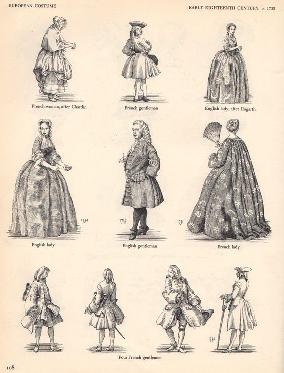 Early 1700's Men's & Women's Fashion. | Enlightenment ...