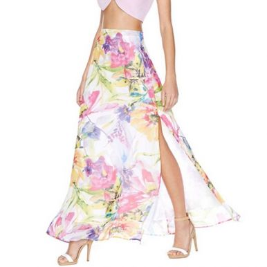 Pretty! Ladies pastel floral long skirt with side slit and hidden zipper.  #fashion #ladies #sumer