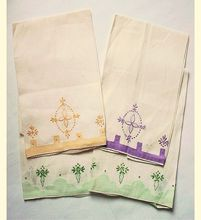 4 Vintage Fingertip Towels Embroidered & Appliqued Spring Colors from Artsfarm Antiques on Ruby Lane