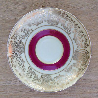 Rare Vintage PT Bavaria Tirschenreuth Saucer with Gold/Burgundy Cartouche Design