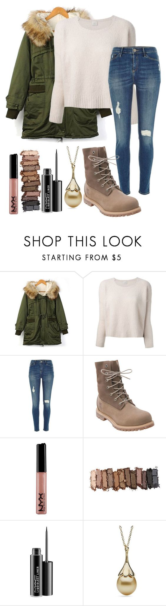 """""""Baby It's Cold Outside"""" by jnoelleh ❤ liked on Polyvore featuring Pinko, River Island, Timberland, Urban Decay and MAC Cosmetics"""