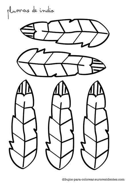 Plumas de indio para colorear. http://dibujos-para-colorear.euroresidentes.com/2013/06/plumas-de-indios-para-colorear.html