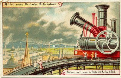 vintage futuristic postcards weather machine