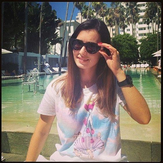 @katearaujo14 enjoying her day in our Aphrodite Tee!   #delanohotel #miami #pool #sun #fun #piparama #clothing #tee #rainbow