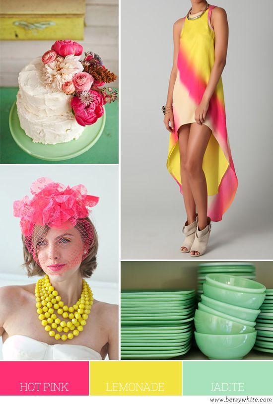 Hot Pink, Lemonade and Jadite   Flights of Fancy  love this color combo.