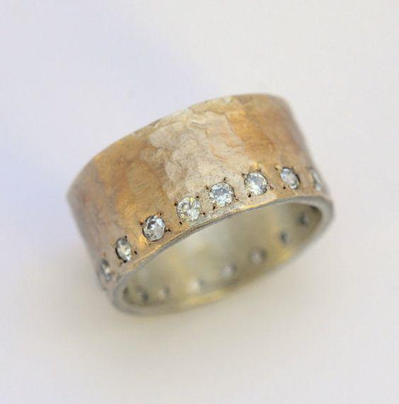 Anillo de compromiso de oro y plata hechos a por HolyLandsRings
