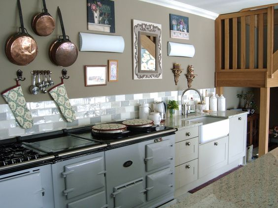 French Kitchen Large Aga In Pearl Ashes Carrara Marble