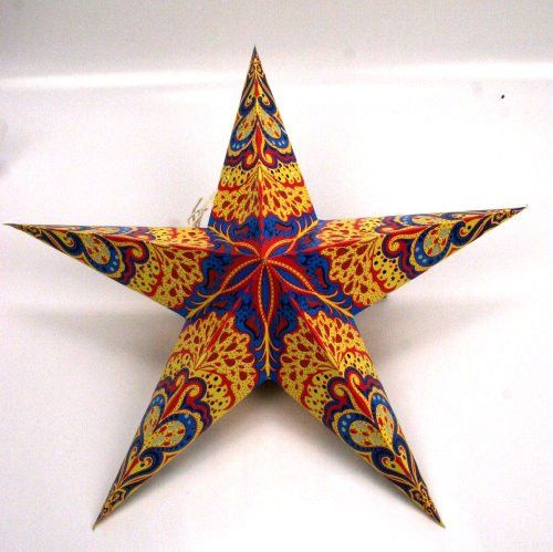 This is the unique kind of star lamp, which you see decorating concert stages, special events, parties, weddings or as a simple, clean accent to any room. Each paper star shade is made from kite quality paper and thin card, and can be simply tied to a pendant ceiling light or other fittings with the attached strings.