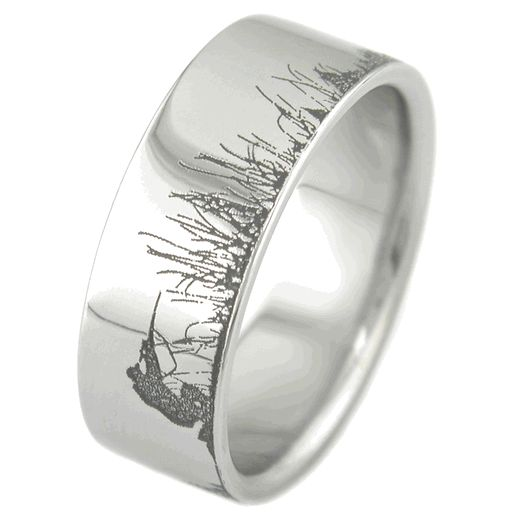 mens laser carved titanium ultimate deer hunting ring ring weddings and wedding - Hunting Wedding Rings