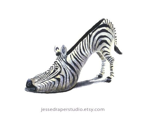 High Heeled Zebra Shoe....alas only a print:-(