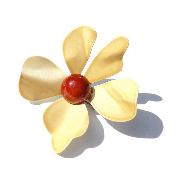 Vintage Enamel Flower Brooch Sunny Golden Blossom by malibloom, $12.00