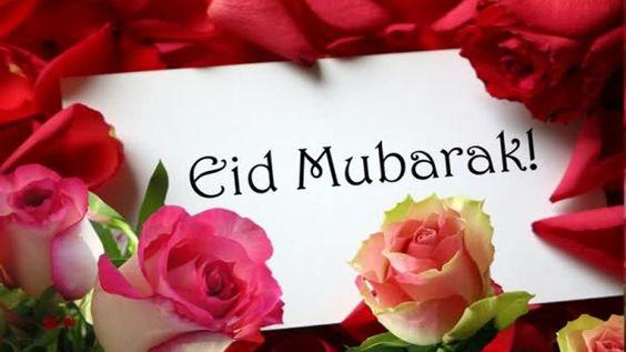 Eid Mubarak Photo on letter gift flower