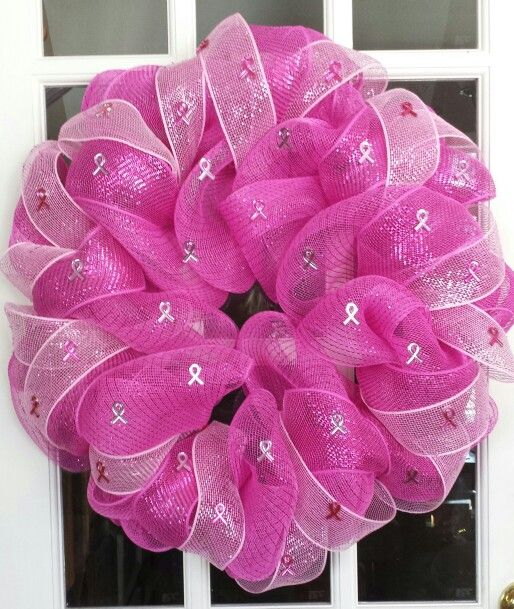 Breast Cancer Awareness wreath. :) Taking orders now for spring! Find me on Facebook at Mel's Stuff. https://www.facebook.com/melissa.sampson2?ref=tn_tnmn#!/MelsawesomeWreaths