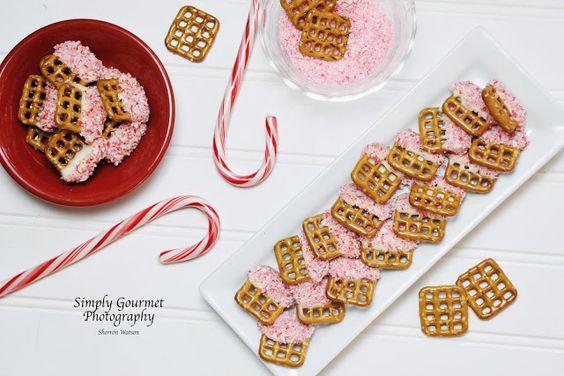 Peppermint dipped pretzels