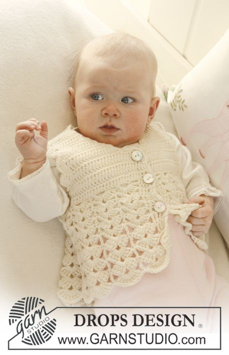 "Crochet DROPS waistcoat with fan pattern in ""Baby Merino"". ~ DROPS Design:"