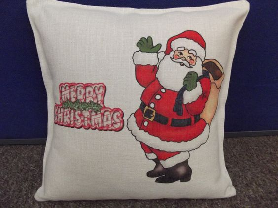 Merry Christmas Santa Claus Cushion Cover by Mugstuff on Etsy