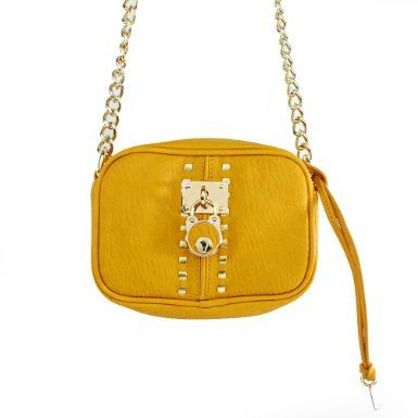 Click Here and Buy it On Amazon.com $28.99 Amazon.com: New Arrival Designer Inspired Pad Lock Embellishment and Golden Rivet Studded Solid Mini Messanger Bag / Crossbody Bag with Chain Strap in Mustard Yellow: Clothing