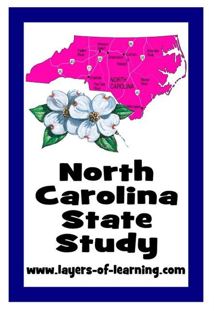 North Carolina State Study - Layers of Learning - Includes a little bit of history and geography, activity ideas, a printable map, and additional layers of information.