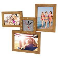 Wanduhr Fotouhr Bilderrahmen Bilder-Uhr Rahmen Fotocollage Galerie Eiche NEU