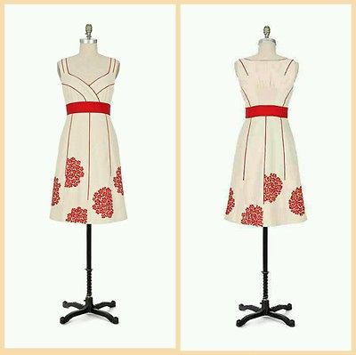 FLOREAT anthropologie Coral Way DRESS Floreat Size 4 IVORY RED EMBROIDERED