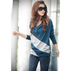 $5.93 Casual Style Loose-Fitting Cowls Neck Long Sleeves Cotton Blend Stripe T-Shirts For Women