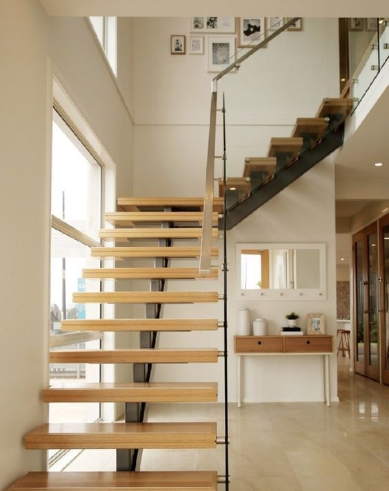 Beautiful Wood and Glass Staircase by Demax Staircase&Railing #stairs #staircase #staircaseideas