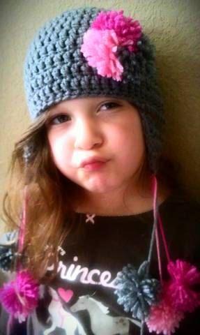 Grey Pom Pom Crochet Hat 03 36 612 by MommyPowers on Etsy, $13.00