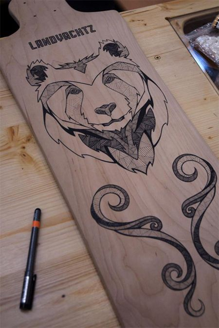 One of a kind longboard painted by Andreas Preis
