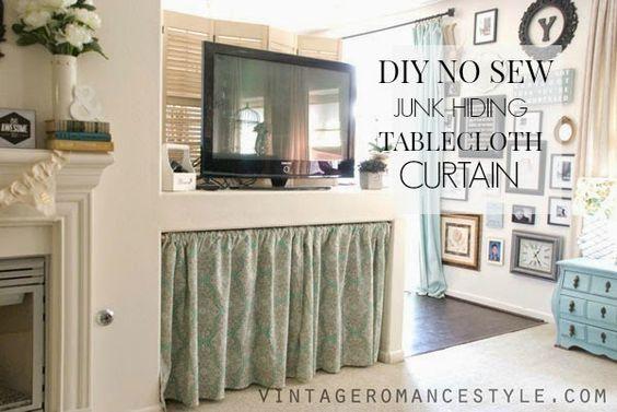 DIY No Sew Junk Hiding Table Cloth Curtain