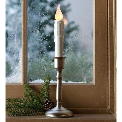 Battery Operated Cordless Single Candle With Auto Timer Brass Plow Hearth Adult Unisex Window Candles Candles Holiday Lights