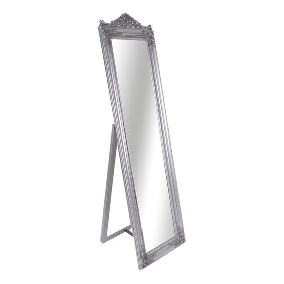 Ornate Silver Chevel Mirror - At Home