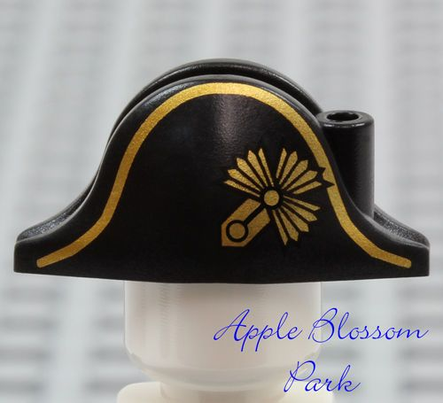 Lego New Black Minifig Headgear Hat Pirate Bicorne with Gold Captain Pattern