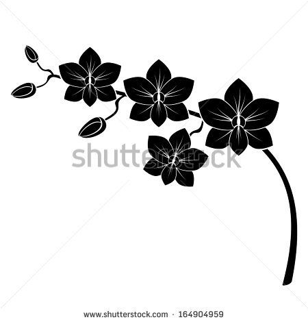 orchid es branches and pochoir silhouette on pinterest. Black Bedroom Furniture Sets. Home Design Ideas