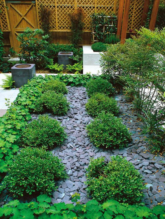Slate chips are used to mulch pathways between plantings for Soft landscape materials