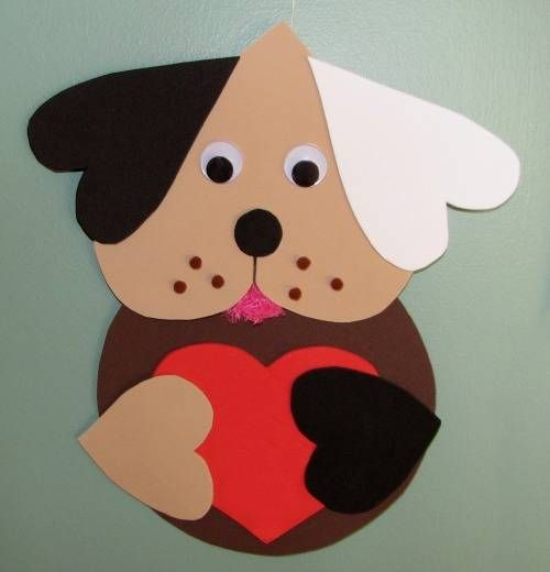 Valentine Dog Craft- cute for the younger grades- all on Plantin Schoolbook. 5in circle, 5in heart for head, 5in italic heart for ears, 3.5in red heart in roly poly, and paws are 2.5in roly poly. 1in circle for nose. Hole punch freckles.: