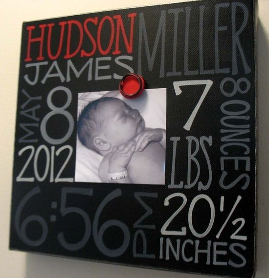 Baby birth information canvas frame | Baby gifts, Births ...