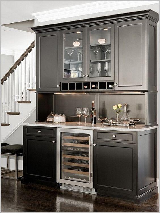 Design, Refrigerator Design On Dining Bar Cabinet Design Ideas