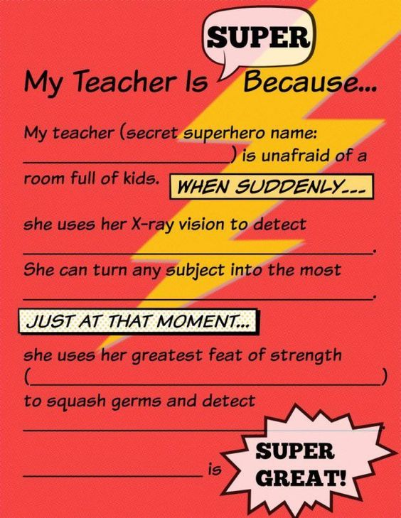 Fill In The Blank My Teacher I Super Have Your Child Write Thei Superhero Appreciation Printable Letter Essay About Hero