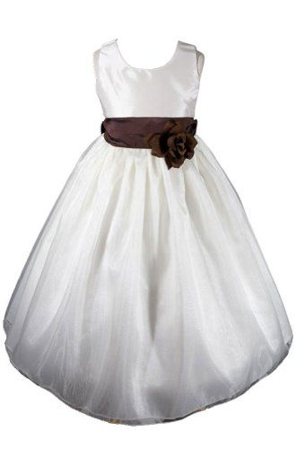 AMJ Dresses Inc Ivory/brown Flower Girl Wedding « Dress Adds Everyday