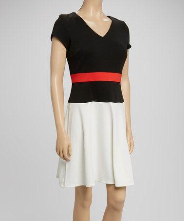 Black & Dark Poppy Color Block V-Neck Dress by Sandra Darren #zulily #zulilyfinds