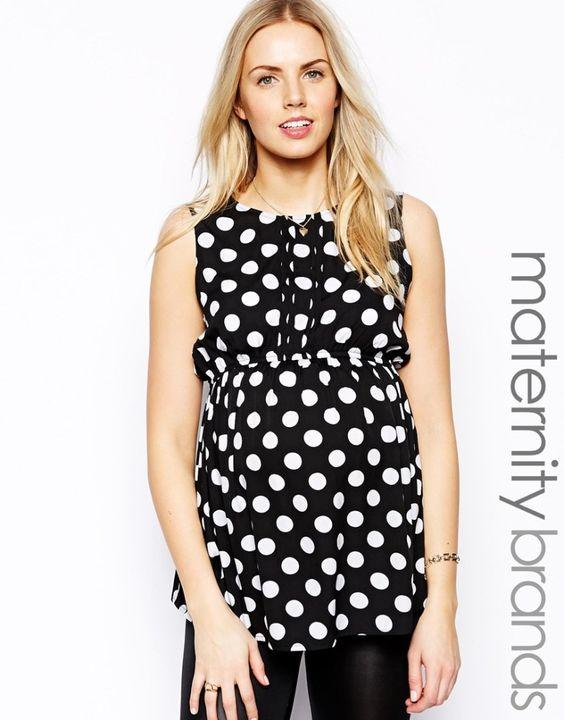Black and White Polka Dot Maternity Blouse from @ASOS.com: