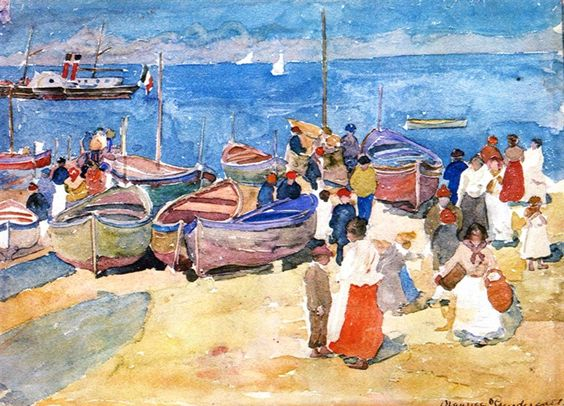 At the Shore ,Capri.c.1898 by Maurice Prendergast