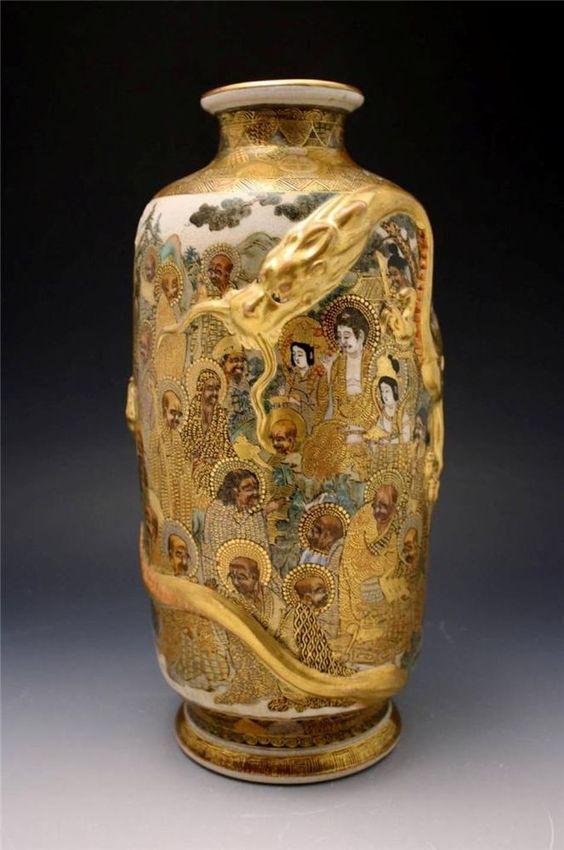 C1900 Japanese Satsuma Vase W Bas Relief Dragon Amp Immortal Figures Shimazu Mon Satsuma